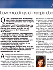 Lower readings of myopia